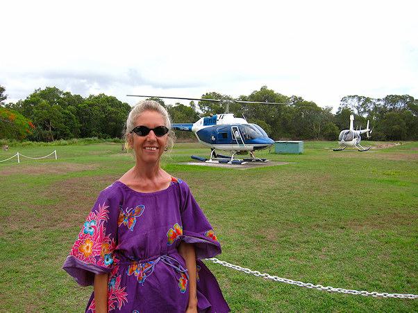 Angela harvinaisella helikopterimatkalla