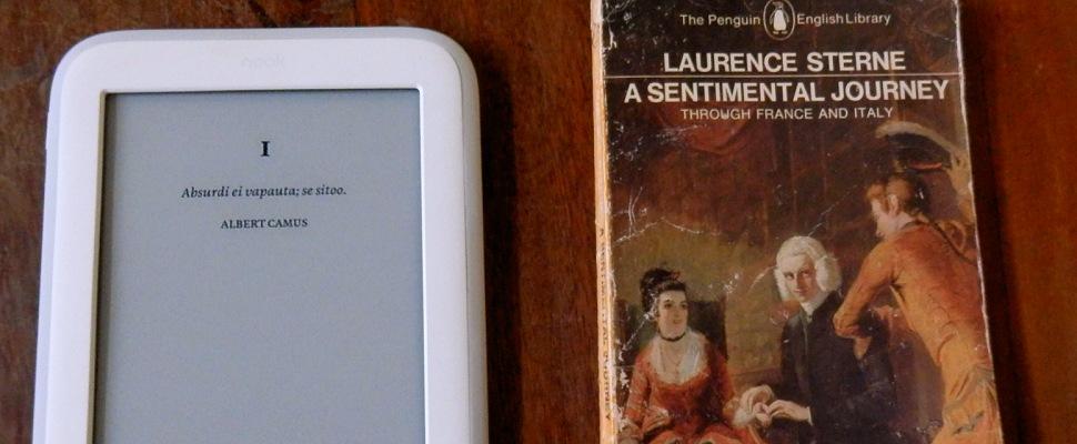 Sähkökirjan lukulaite, NOOK, valkoinen, Yhdysvallat. Laurence Sterne: A Sentimental Journey Through France and Italy, Ranska. - Maija Kauhanen - Kulkuri.org