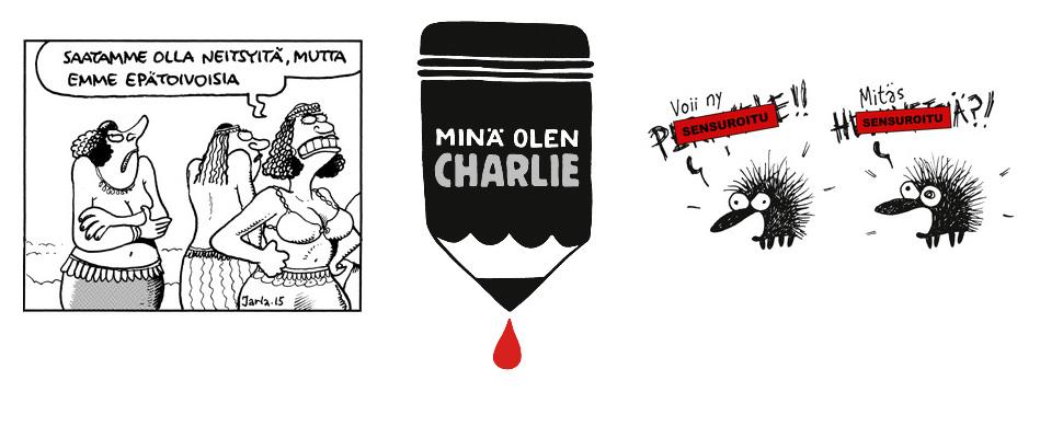 Minä olen Charlie - Suomen sarjakuvaseuran näyttelyssä sarjakuvataiteilijat reagoivat Charlie Hebdon murhenäytelmään