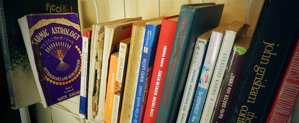 Matkalla lukeminen vie uuteen ulottuvuuteen; kirjoja hyllyssä - Maija Kauhanen